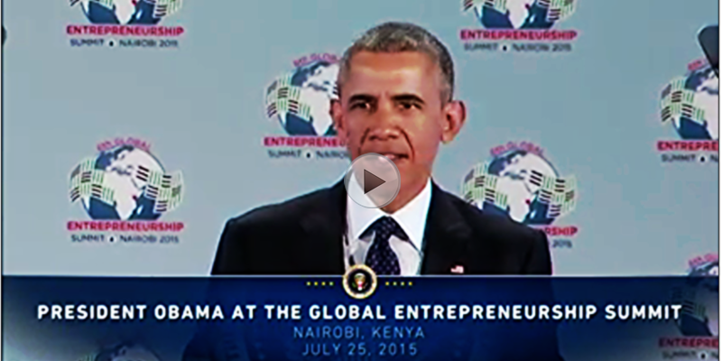 President Barack Obama delivers remarks at the Global Entrepreneurship Summit in Kenya GES2015